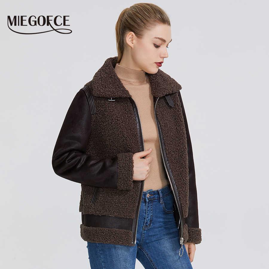 MIEGOFCE 2019 Neue Winter Frauen Sammlung Faux Pelz Jacke Frauen Mantel Winter Schaffell Parka Winddicht Beständig Kragen Mit Pelz