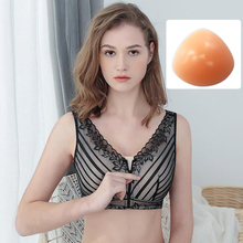 Mastectomy Bra Pocket Bra 90C for Silicone Breast Prosthesis Breast Cancer Women Artificial Boobs Front Zipper Bra D30 цены