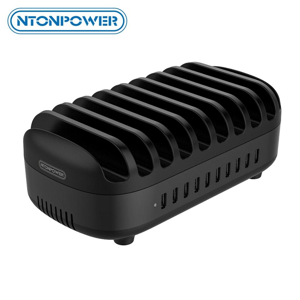 Ntonpower 10 portas usb estação de carregamento com suporte do telefone 120 w carregador desktop para tablets kindle carregamento rápido doca para a escola