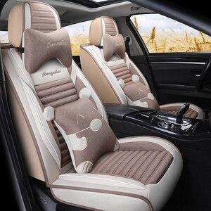 Чехлы на сиденья автомобиля из льняного волокна, чехлы для Hyundai avante solaris veloster i30 hyundai grandeur sonata i40