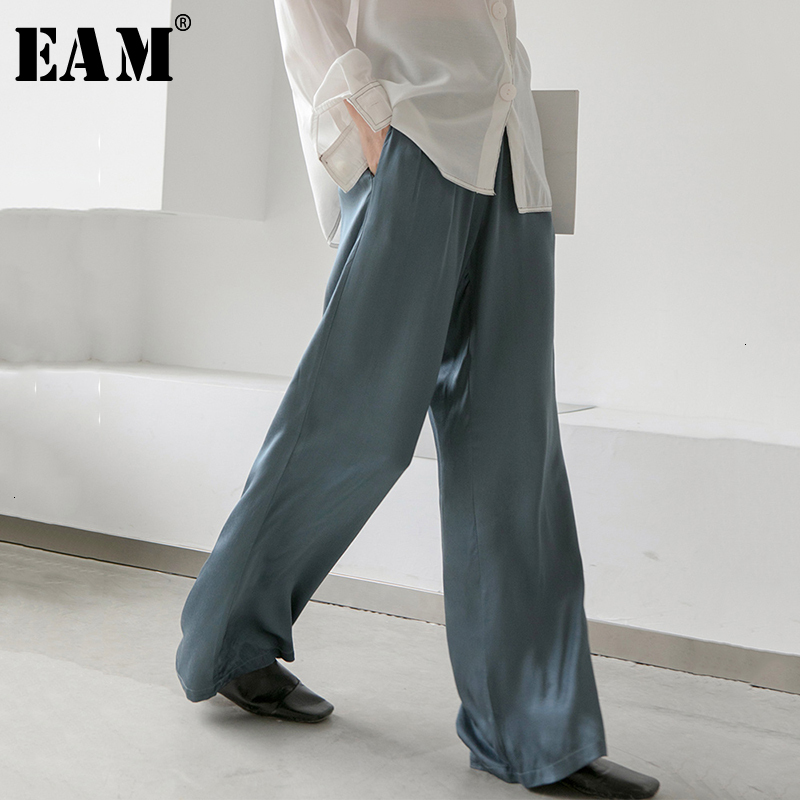 [EAM] High Elastic Waist Blue Loose Long Wide Leg Trousers New Loose Fit Pants Women Fashion Tide Spring Autumn 2019 1D581