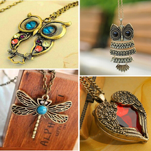 2019 New Fashion Statement Owl Crystal Necklaces Pendants For Women As A Gift,Gold & Silver Chain Long Jewelry,collier female(China)
