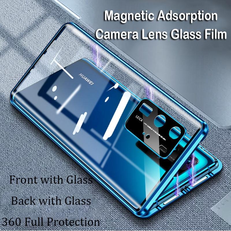 Magnetic Phone Case For Huawei P40 Pro P30 Mate 20 Mate 30 Pro Camera Lens Glass Cover Metal Bumper Honor 20Pro V30 Nova6 5 Case