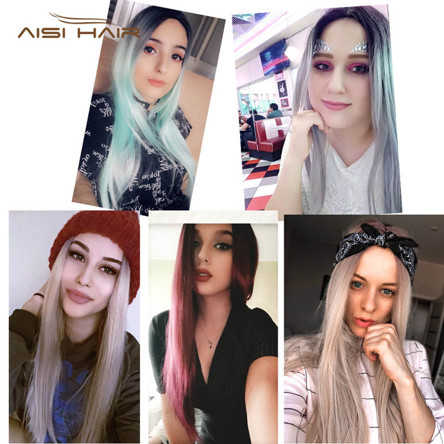 Ombre Green Straight Long Synthetic Wigs For Women  Black Pink Wigs 24 inch 9 Color can be Cosplay Wigs I's a wig 5