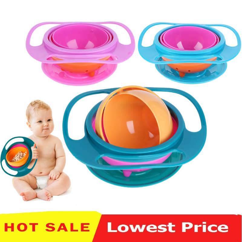 Newborn Baby Bowl Universal Gyro Bowl Practical Design Children 360 Degrees Rotate Balance Gyro Umbrella Bowl Spill-Proof Bowl
