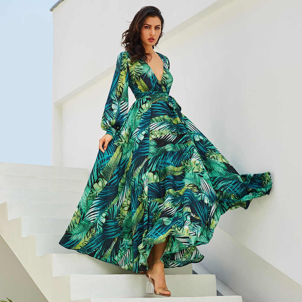 패션 긴 소매 드레스 그린 열대 해변 빈티지 맥시 드레스 Boho 캐주얼 V 목 벨트 레이스 튜닉 Draped 플러스 사이즈 드레스