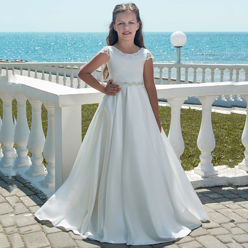 Cap Sleeves 2019 Flower Girl Dresses For Weddings A-line Appliques Lace Beaded Bow Long First Communion Dresses Little Girl