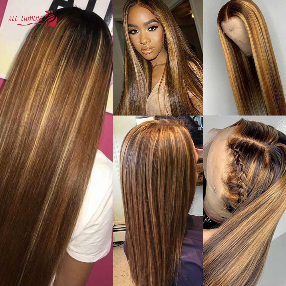 13X4 Lace Front Wig  Straight Highlight Wig  Wigs Pre Pluck With Baby Hair Ombre  Wig 5