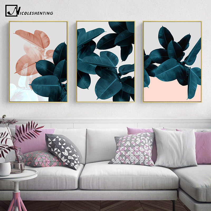 Scandinavian Botanical Leaf Wall Poster Nordic Abstract Plant Canvas Print Painting Contemporary Art Home Decoration Picture