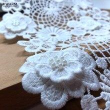 Tissu africain en dentelle et soie de lait soluble dans l'eau, 5 mètres, strass 3D, haute qualité, pour décoration de mariage, patchs de garniture, DIY, 2020