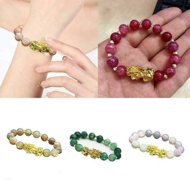 Pixiu-pulsera de guardián de la suerte para hombres y mujeres, pulseras de hilo de cuentas de la riqueza, Fengshui chino, Unisex 4