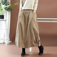 Women Corduroy Skirt Pockets Retro Vintage Fashion Long Big Loose Elastic Waist Skirt for Autumn Winter AZ58192919
