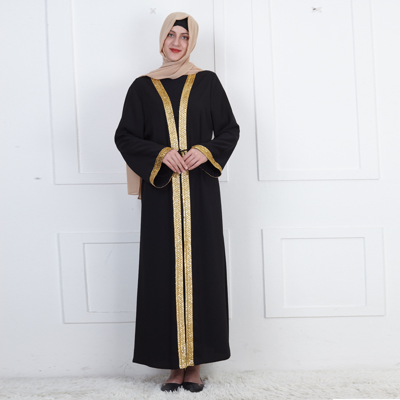 Dubai Arab Muslim Open Abaya Dress Women Lace-up Long Robe Kaftan Turkish Islamic Clothes Sequins Middle East Hijab Dresses 2020
