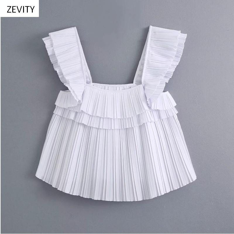 2020 Women Vintage Square Collar Cascading Ruffles Pleated White Blouse Ladies Sleeveless Casual Shirts Chic Chemise Tops LS6771