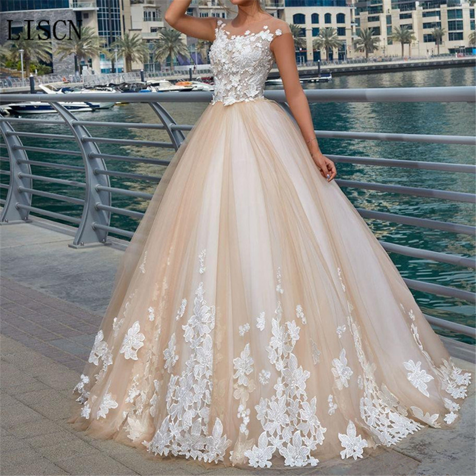 Elegant White Short Sleeve Illusion A-line Wedding Dress Tulle Colorful 3D Lace Appliques Long Vestido De Noiva Bridal Gown