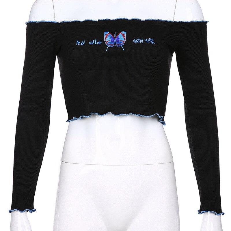 Купить женская футболка с вышивкой и длинным рукавом укороченный топ