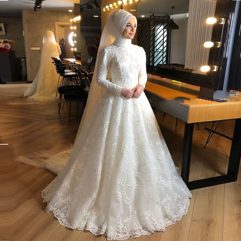 2020 Islamic Ivory Full Lace Pearls Muslim Wedding Dress With Hijab Long Sleeves Arabic Bridal Gowns Dubai Bride Dresses