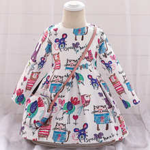 Long Sleeve Dress Girl Christmas Dress 2019 Autumn Winter Floral Print Toddler Girl Dresses Kids Clothes Children Dress with Bag floral sweater dress teenage baby girl winter autumn spring dress with long sleeve 2018 children s knitted dress for girls