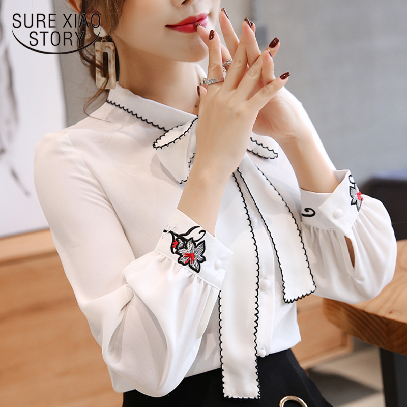 women   blouse   2019 long sleeve chiffon women's   shirt   bow patchwork women clothing white and red color OL feminine   blouse   0726 30