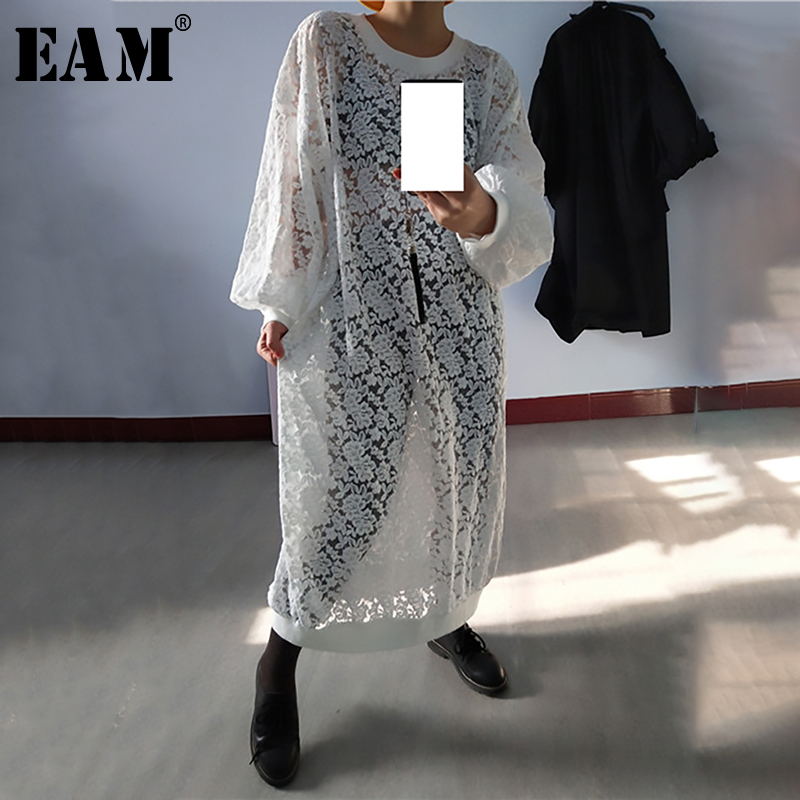 [EAM] Women White Lace Spit Joint Big Size Long Dress New Round Neck Long Sleeve Loose Fit Fashion Tide Spring Autumn 2020 1N852