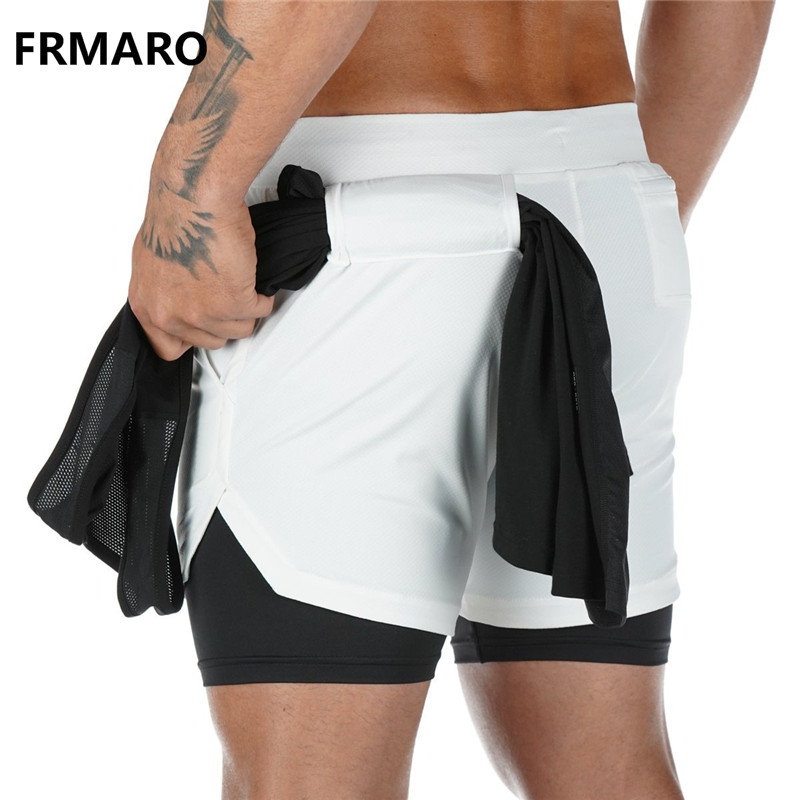 2019 Mens 2 In 1 Fitness Running Shorts Men Sports Shorts Camouflage Quick Drying Training Gym Sport Shorts Joggers Short Pants