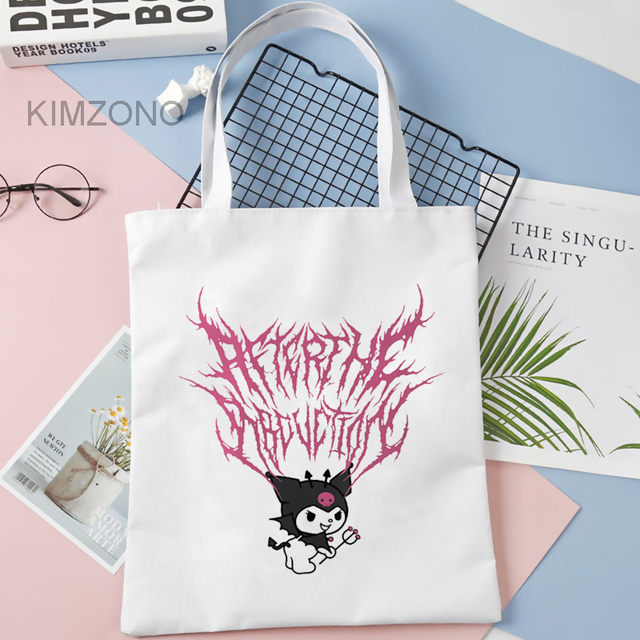 Kuromi shopping bag grocery handbag shopper tote canvas shopper bag boodschappentas bolsa compra cloth sac toile