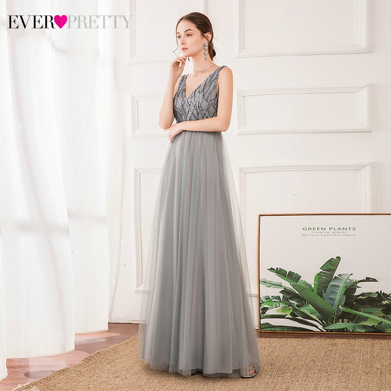 Elegant Grey Prom Dresses Ever Pretty Sequined A-Line Deep V-Neck Sleeveless Tulle Sparkle Long Party Gowns Vestido Formatura