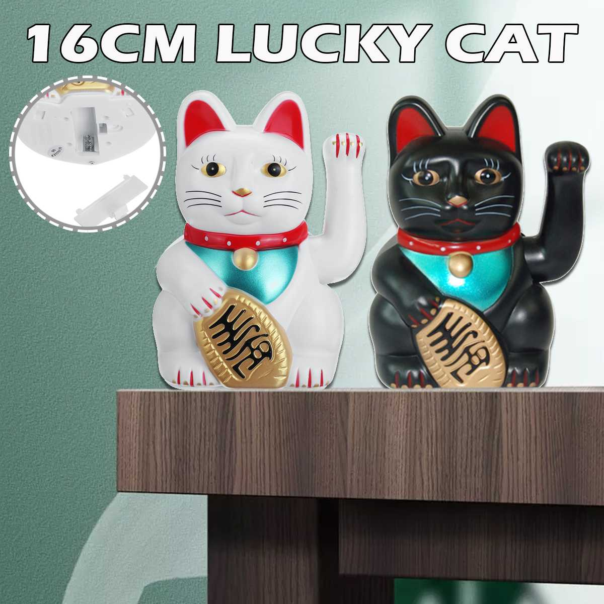 16CM Beckoning Waving Lucky Cats Plastic Figure Moving Arm Chinese Wealth Fortune Feng Shui Home Hotel Decor Craft