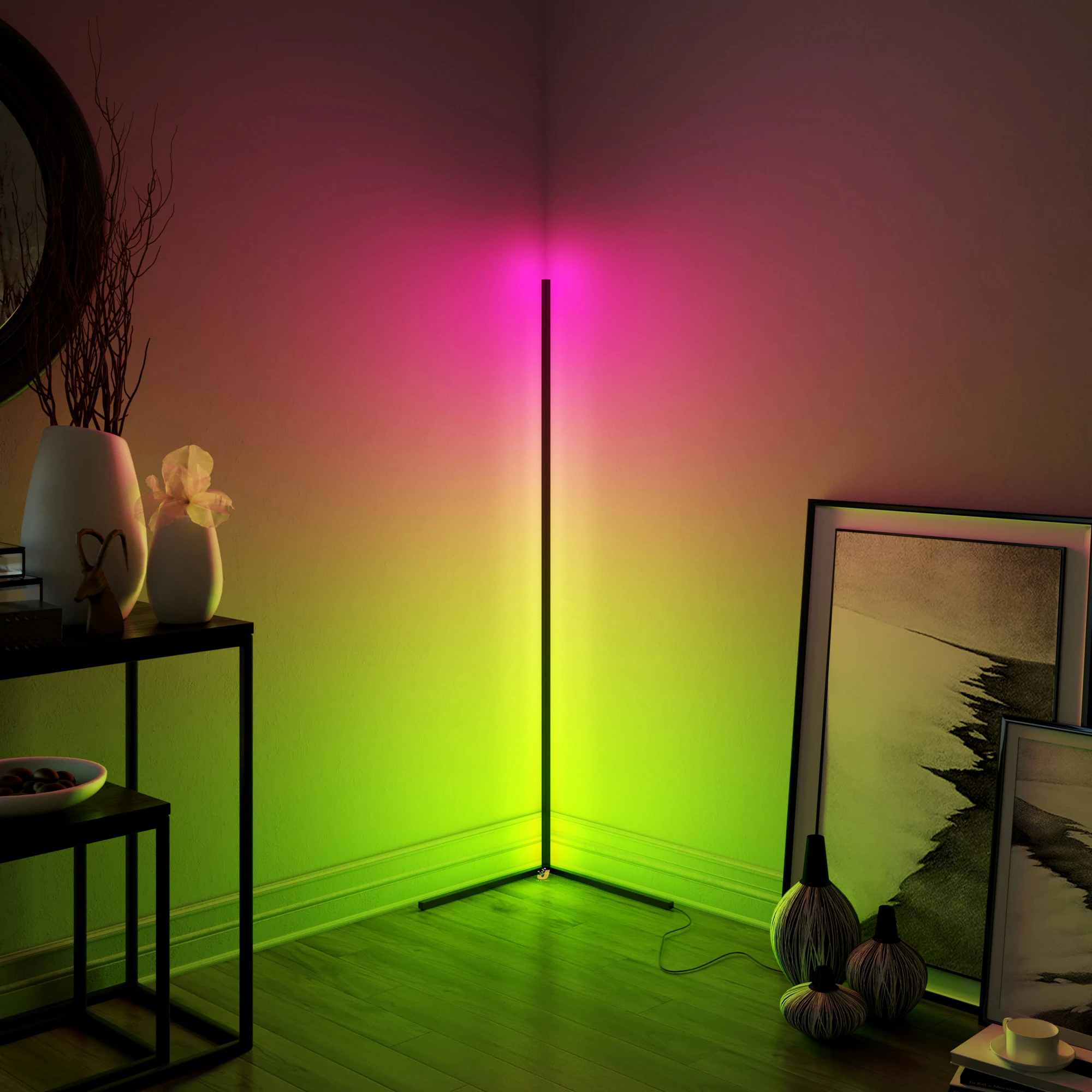 Modern LED Corner Floor Lamp Bedroom Decoration Atmosphere Lamp Bedroom Living Room Colorful Indoor Club Light Standing Lighting