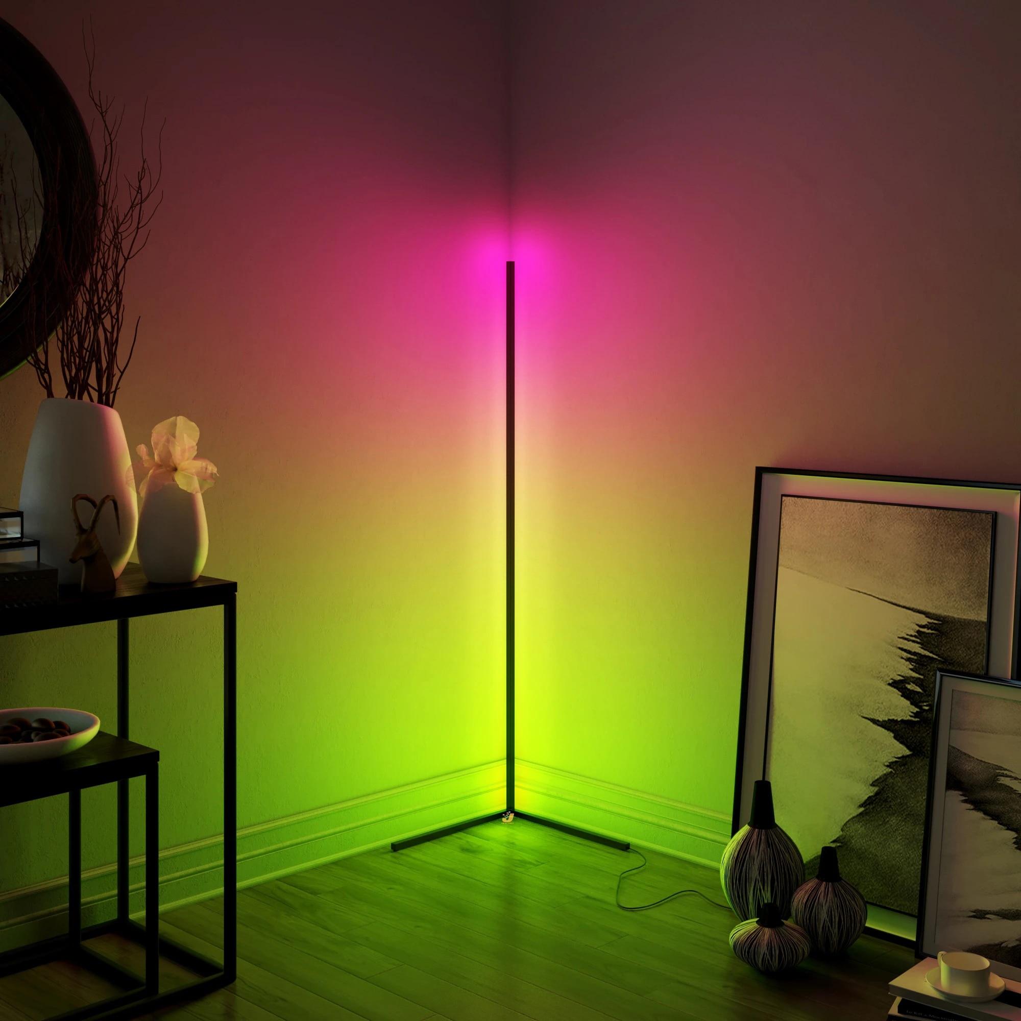 Modern LED Corner Floor Lamp Bedroom Decoration Atmosphere Lamp Bedroom Living Room Colorful Indoor Club Light Standing Lighting