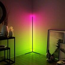 Lámpara LED moderna de esquina para decoración de dormitorio, lámpara de ambiente para dormitorio, sala de estar, colorida iluminación de pie para discoteca de interior