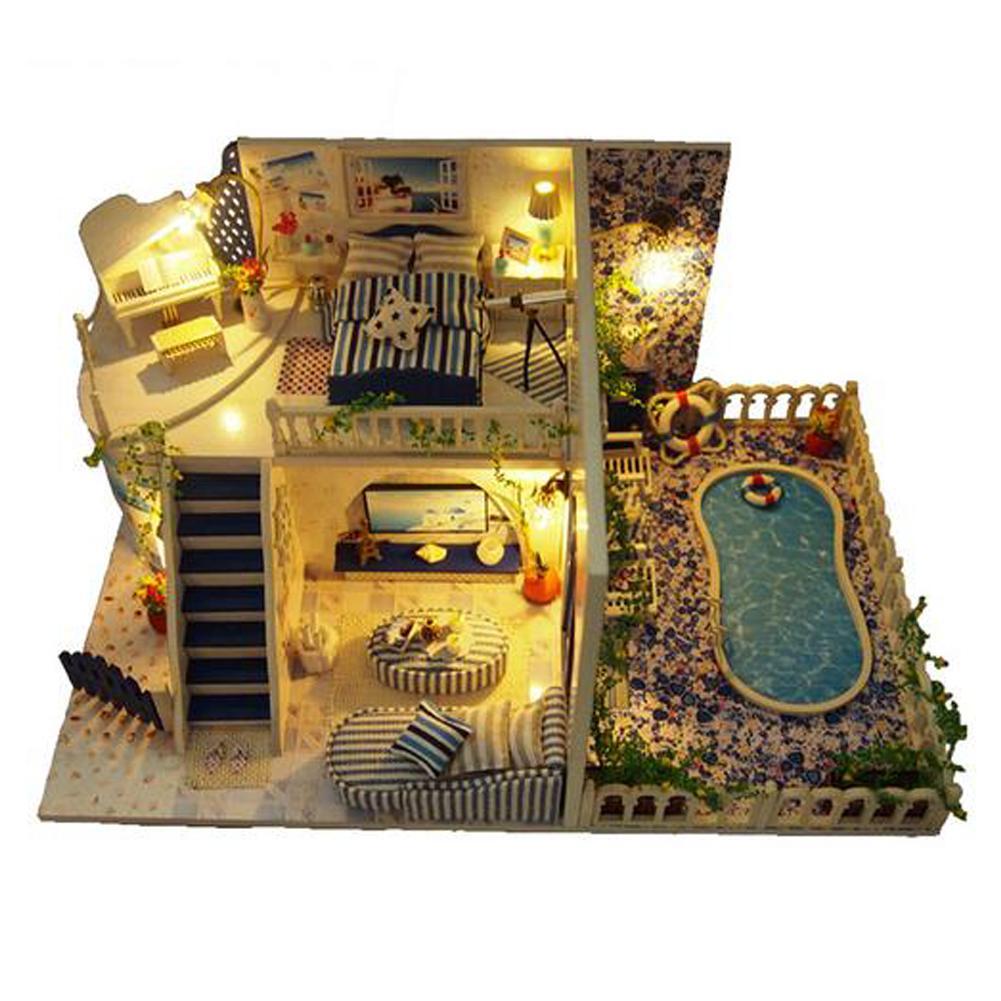 Bricolage maison de poupée assemblée Cottage santorin cabine innovant cadeau d'anniversaire jouets éducatifs décoration de la maison illuminer maison de poupée