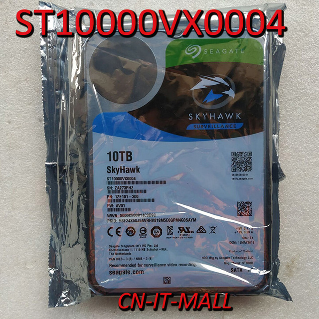 """Seagate SkyHawk ST10000VX0004 10 to 7200 RPM 256MB Cache SATA 6 Gb/s 3.5 """"disque dur interne"""