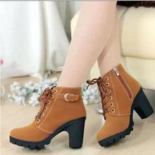 купить Boots Women Shoes Women Fashion High Heel Zip Ankle Boots Ladies Buckle Platform Artificial Leather Shoes Bota Feminina 2019 дешево