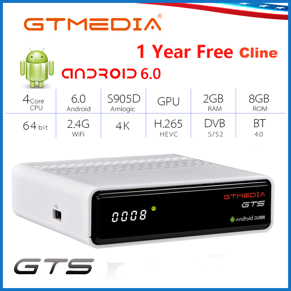 GTMEDIA GTS Smart TV Box Android 6.0 2GB 8GB H.265 4K Wifi Netflix Youtube Free Cline Server Receptor Set Top Box Android Box