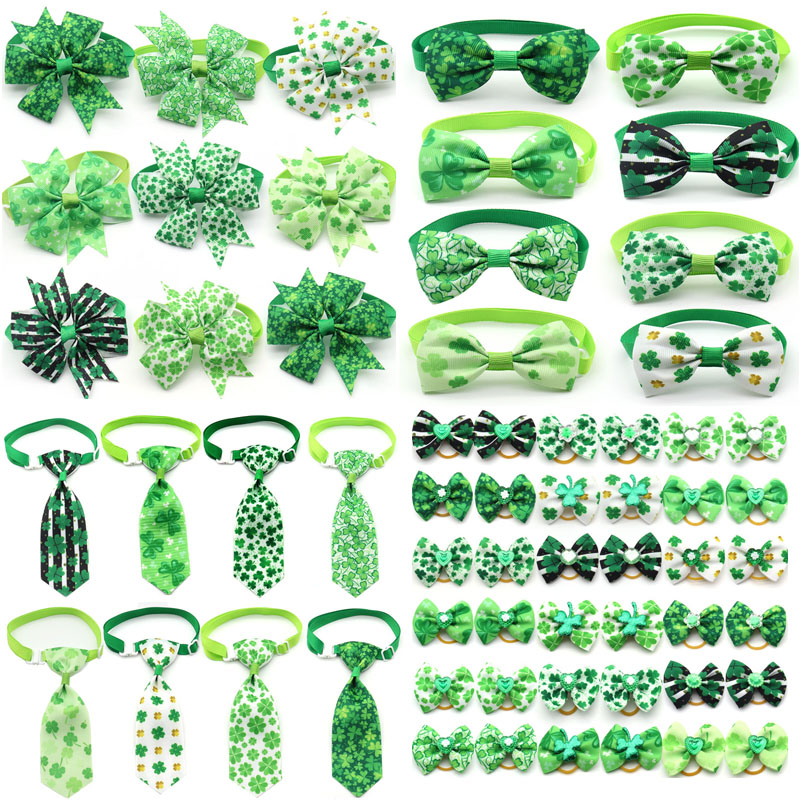 10 Pcs ST Patrick's day Pets Supplies Green White Dog Grooming Puppy Accessories Small Dog Cats Hair Bows Puppy Bowties Necktie