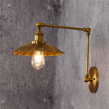 Led wall lamp vintage Gold Fixtures Wall Sconce Industrial vanity Light Loft E27 Bulb Iron Retro Home Deco Bedroom Desk Lighting цена 2017