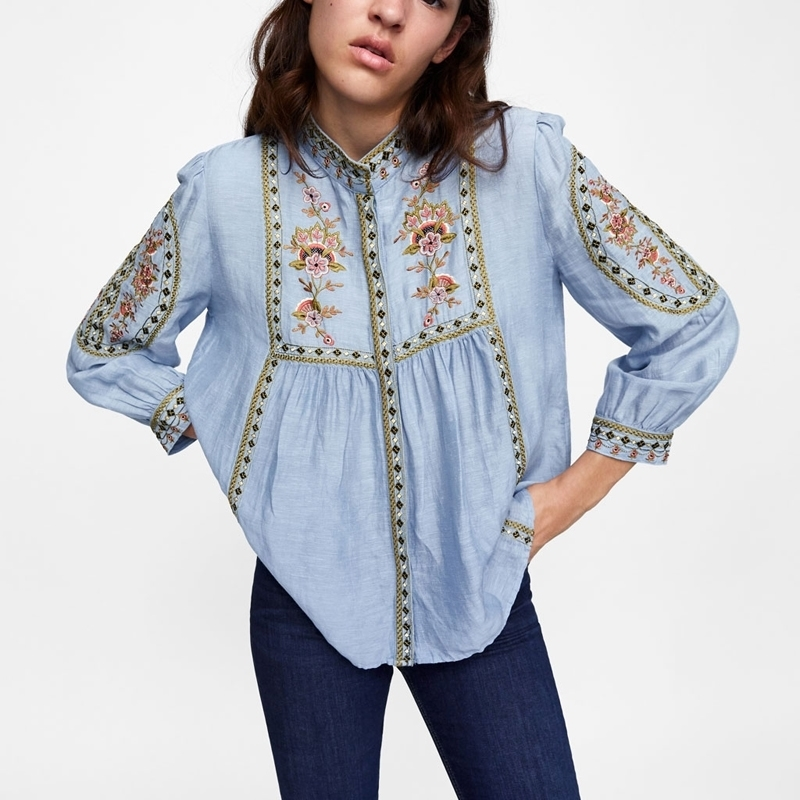 blouse Bule boho autum floral embroidered o-neck puff sleeve boho blouses hippie loose shirt blouse for women top