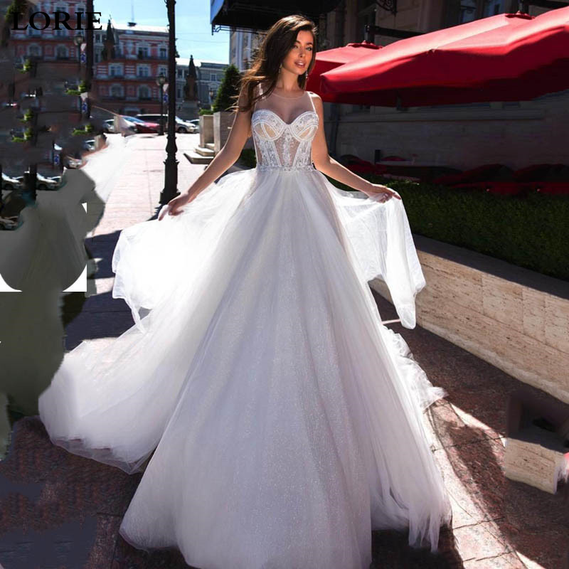 LORIE Glitter Princess Wedding Dress A Line Appliqued Lace Bridal Dresses Vestidos De Novia Boho Wedding Gown