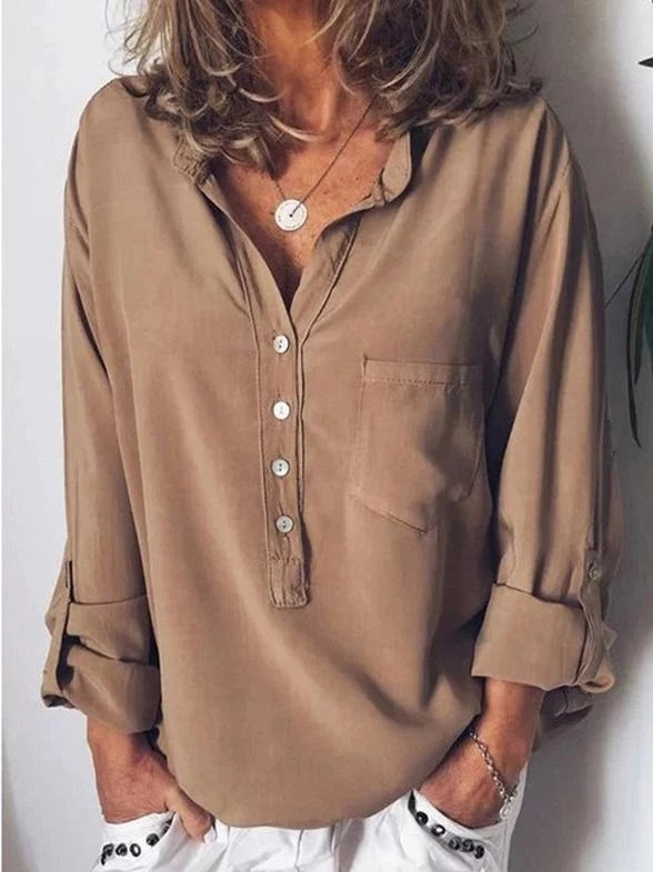 Women Autumn Fashion Concise Blouse Casual All match Solid Color Long Sleeve V collar Loose Chiffon Blusa in Blouses amp Shirts from Women 39 s Clothing