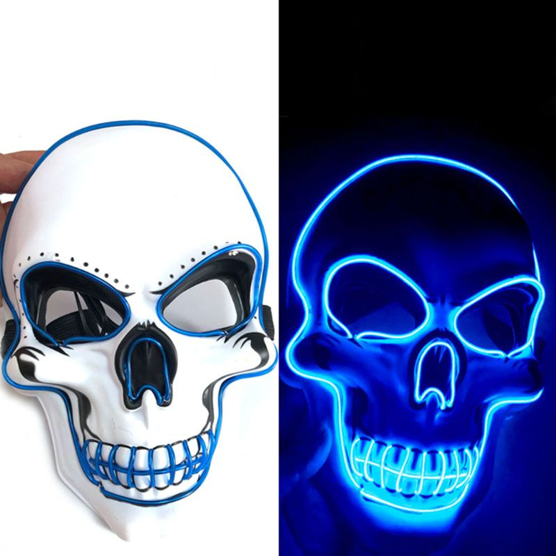 Unisex Halloween Light Up Mask Cosplay LED Scary Death Skull EL Wire Neon Fluorescent Festival Party Cosplay Costume Decoration