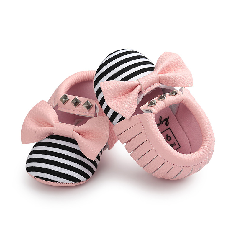 PU Leather Baby Shoes Striped Bows Newborn Baby Girl Shoes First Walkers Soft Sole Non-Slip Infant Toddler Shoes Schoenen