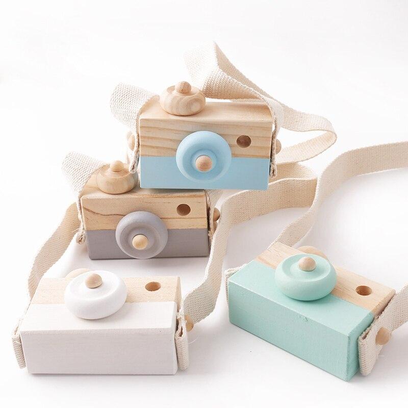 1pc Wooden Hanging  Camera Pendant Fashion Montessori Toys For Children Wooden DIY Presents Nursing Gift Baby Block Toys Kids