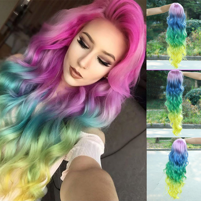 Gossamelle Ombre Pink Blue Green Yellow 4 Tones Lace Front Wig Long Wavy Synthetic Wigs For Women Colorful Rainbow Cosplay Wigs