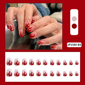24 sztuk burgundii nadruk płomieni paznokcie łatka klej typu krótki akapit wymienny mody Manicure fałszywe paznokcie łatka paznokci sztuki tanie i dobre opinie MAKEUPEATING CN (pochodzenie) Palec False nails Z tworzywa sztucznego Sztuczne paznokcie Pełne końcówki paznokci Easy to use