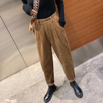 autumn winter Corduroy Pants women high waist pockets trousers women plus size 2019 streetwear Harem pants pantalon femme 2