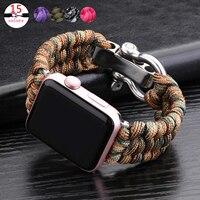 Correa de reloj deportivo para Apple Watch, pulsera de supervivencia al aire libre para Apple Watch Series 6 5 4 3 SE, 44mm, 42mm, 38mm y 40mm