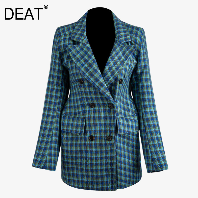 DEAT 2019 New Autumn And Winter Turn-down Collar Full Sleeves Plaided Double Breasted Full Sleeves Single Blazer WJ71705L