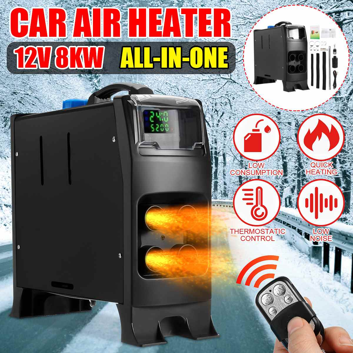 8KW 12V Car Heater All In One 8000W  Diesel Air Heater 4 Holes New LCD Monitor Parking Heater Quick Heat For Boat Truck RV Bus