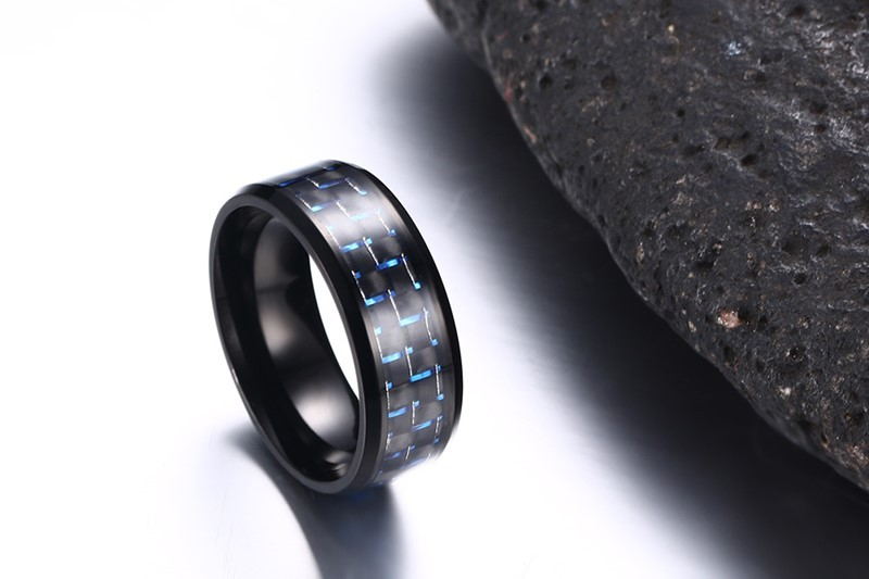 Simple Blue and Black Carbon Fiber Ring